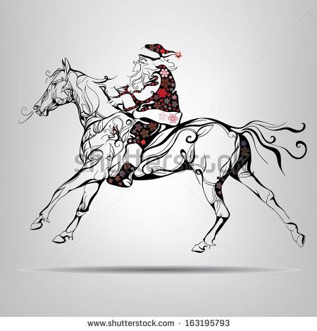 clipart santa claus riding a horse #18