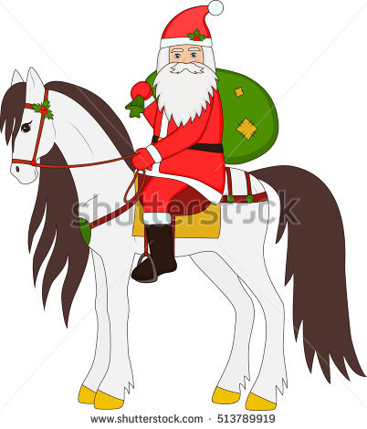 clipart santa claus riding a horse #17