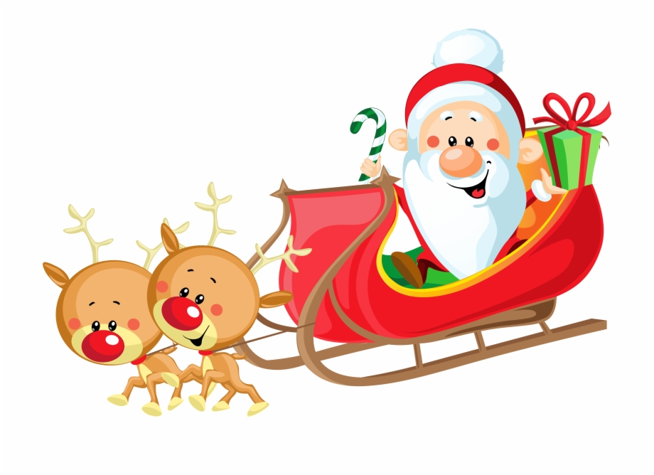 Santa Claus S Reindeer Cute With Sleigh.