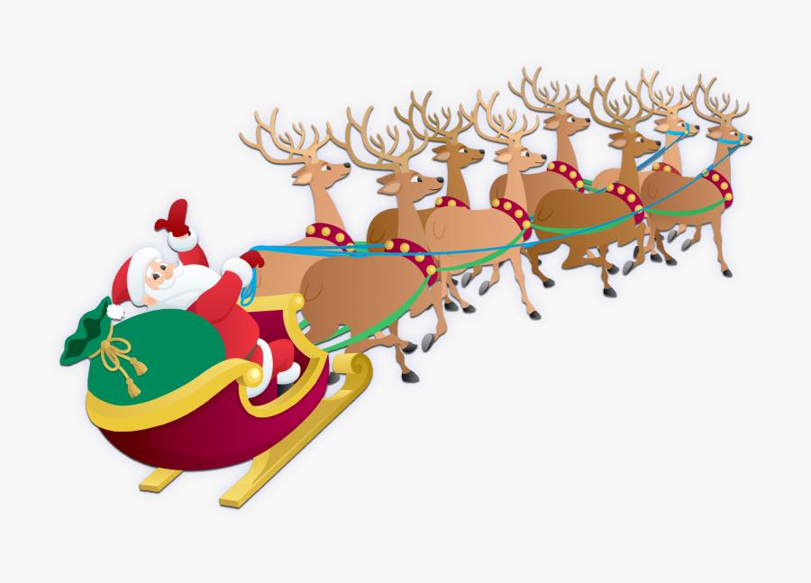 Transparent Reindeer Sleigh Png.