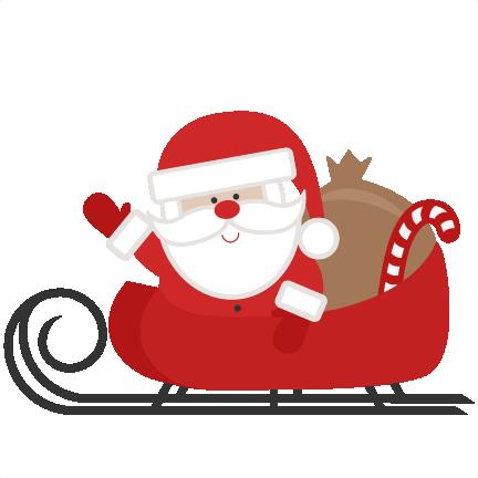 Santa In Sleigh Clipart.