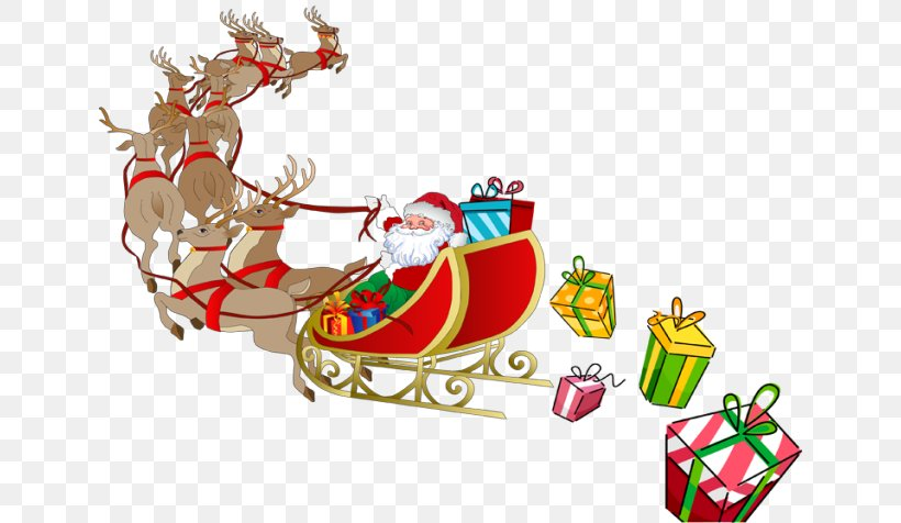 Santa Claus Rudolph Reindeer Sled Clip Art, PNG, 640x476px.