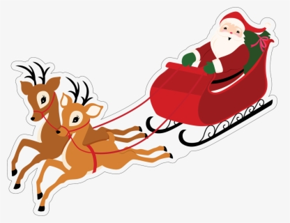 Free Santa In Sleigh Clip Art with No Background.