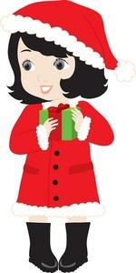 Girl santa outfit clipart.