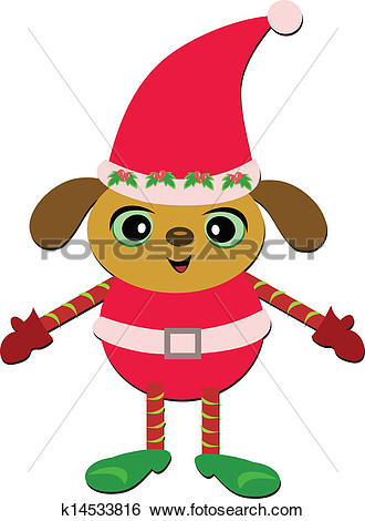 Clip Art of Christmas Puppy in Santa Outfit k14533816.