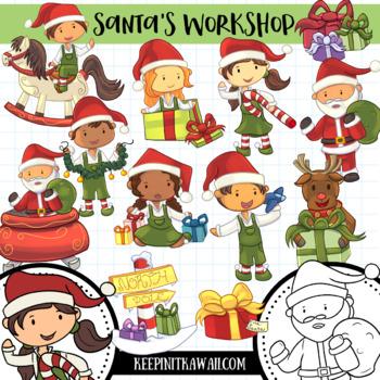 Santa\'s Workshop Christmas Clip Art Collection.