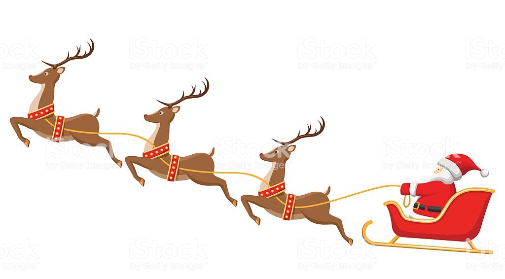 Santa On A Sleigh Clipart.