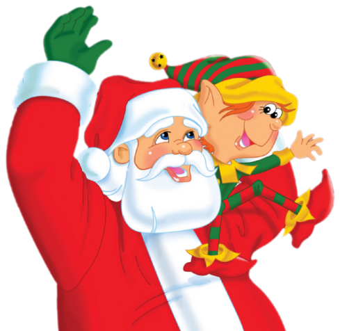 Santa and Elf PNG Clipart.