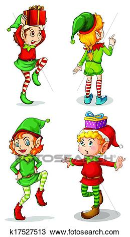Four playful Santa elves Clipart.