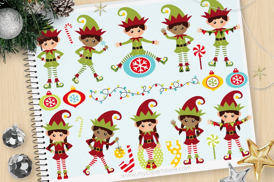Santa's Elves. Christmas Clipart.