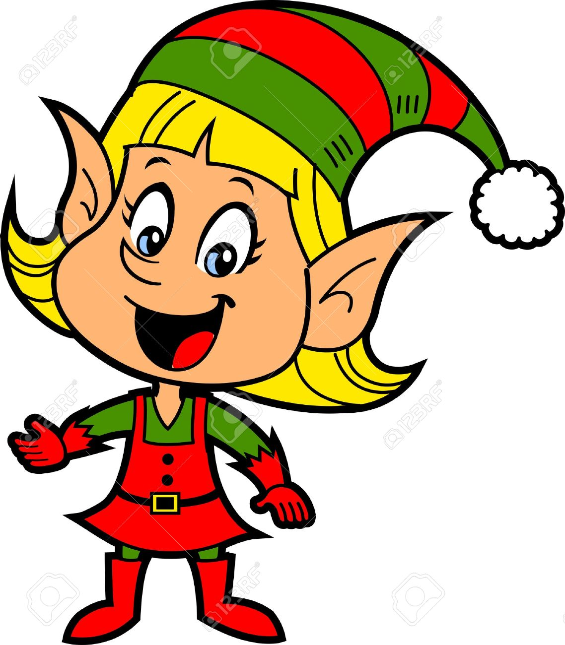 Happy Smiling Blonde Girl Christmas Santa's Elf.