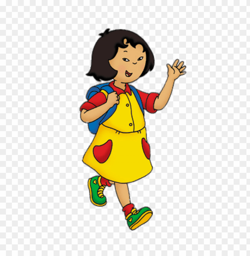 Download caillou\'s friends sarah walking to school clipart.