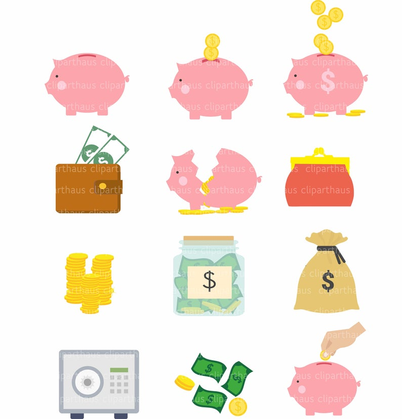 Savings Clipart, Clipart Savings, Vector Savings, Piggy Bank Clipart,  Commercial Use, Safe Clipart, Money Clipart, Instant Download.