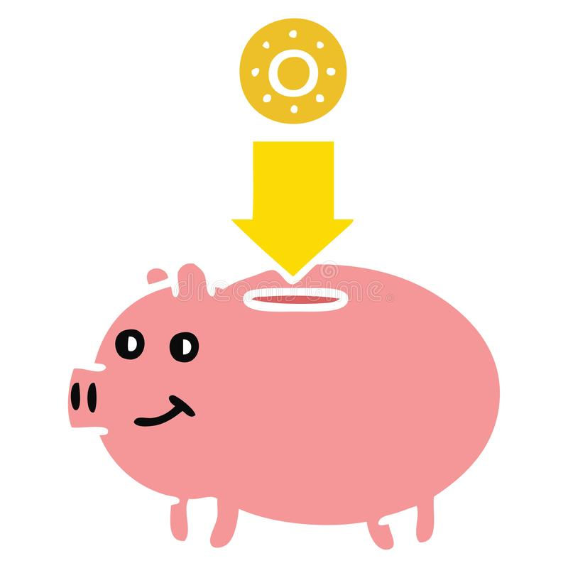 Piggy Bank Savings Cute Illustration Retro Freehand Free Hand.