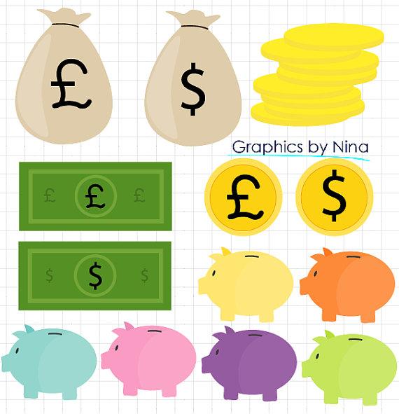 INSTANT DOWLOAD Piggy Bank Clipart Coins Savings Money Clipart.