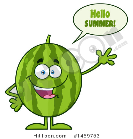 Watermelon Clipart #1459753: Happy Watermelon Character.