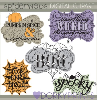 Spiderweb Sayings Clip Art.