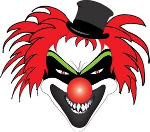 Scary Clown Clipart Image: Halloween costumes.
