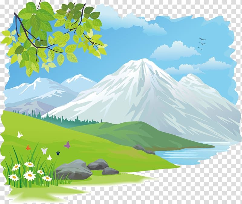 Nature painting, Drawing , Beautiful scenery transparent.
