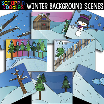 Winter Background Scenes Clipart {Scrappin Doodles Clipart}.