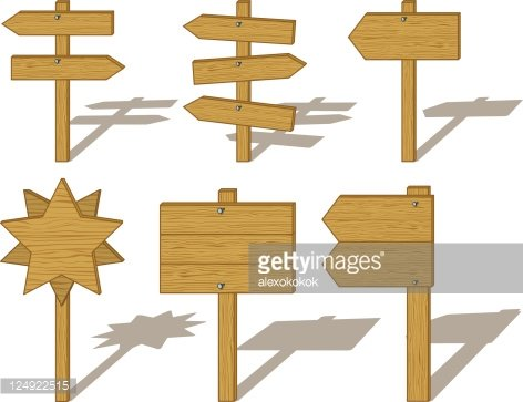 Wood billboards and signs Clipart Image.