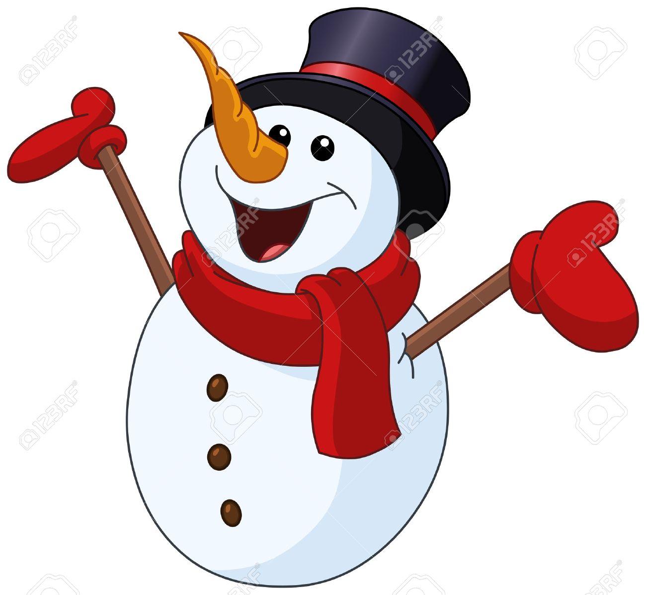 13077 Snowman free clipart.