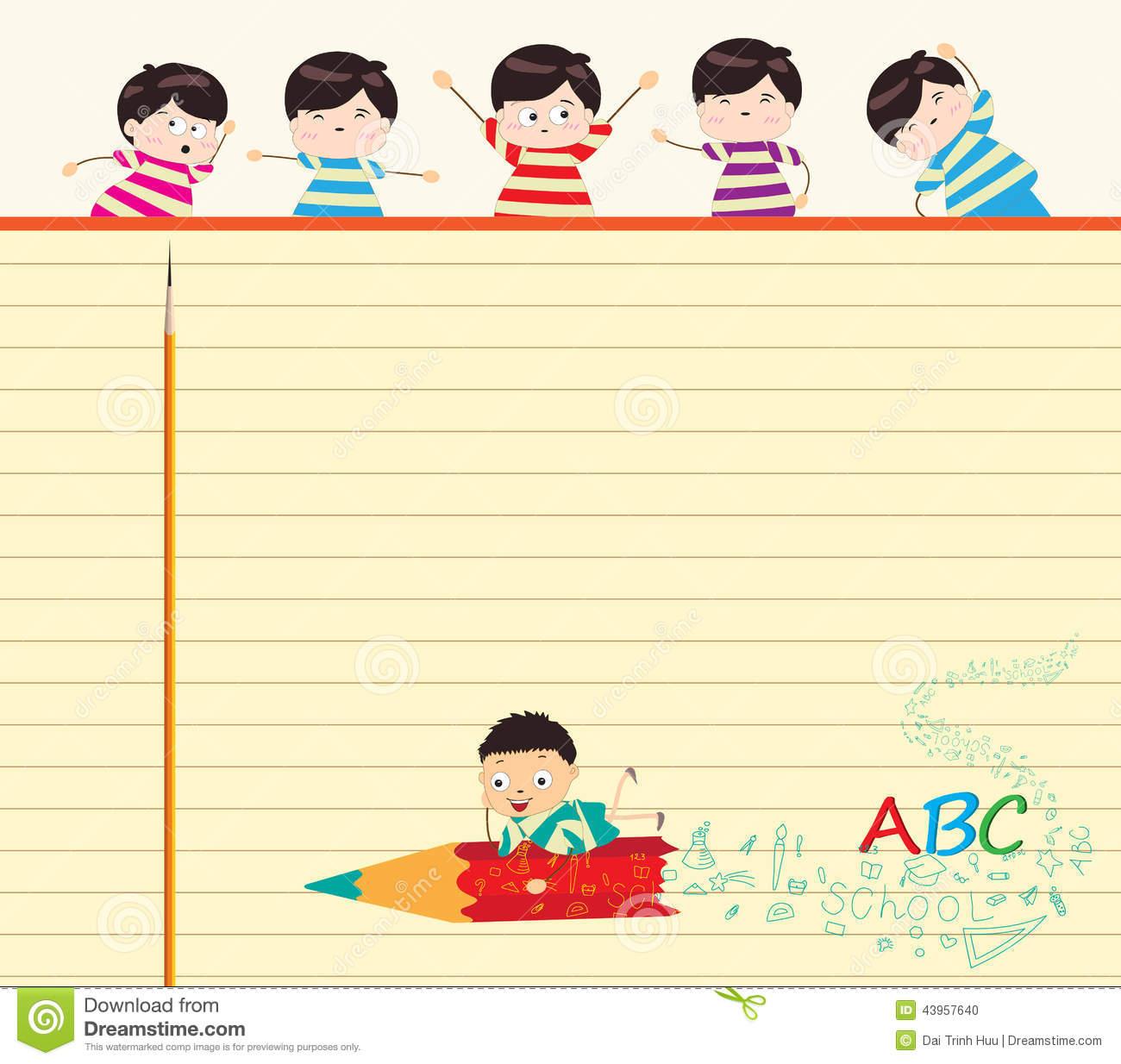 School Children Background Stock Vector.