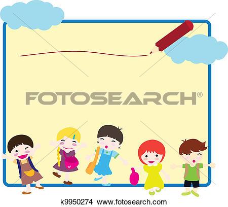 Clipart of children going to school background k9950274.