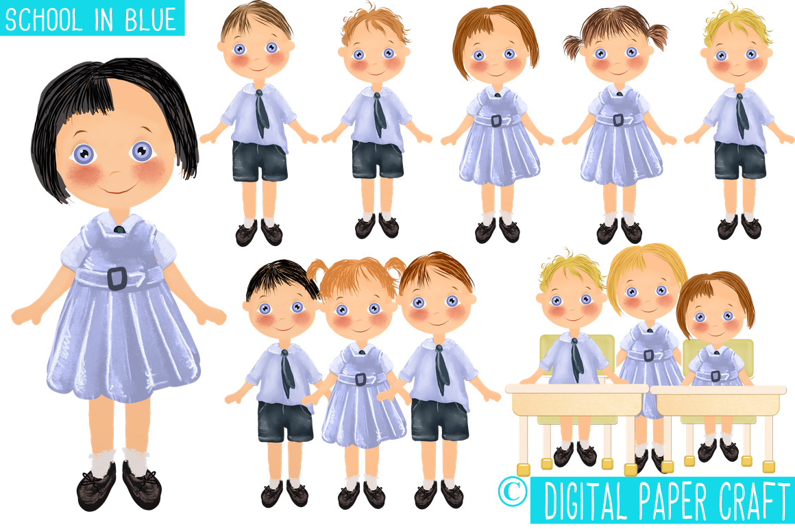 School In Blue, School Clipart, School Children, School Uniform by.