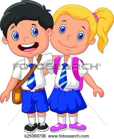 Clip Art of Japanese School Girls Uniform k25125049.