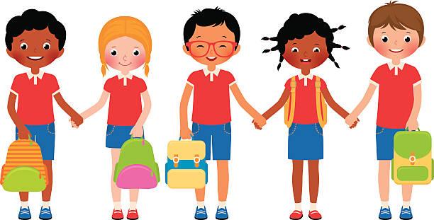 Black Boy In School Uniform Clip Art, Vector Images.