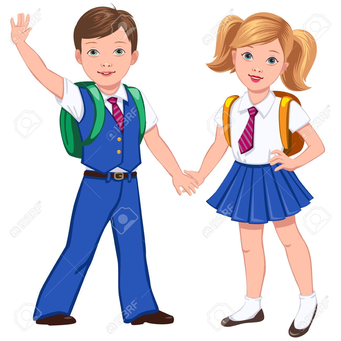 3,457 School Children In Uniform Stock Vector Illustration And.