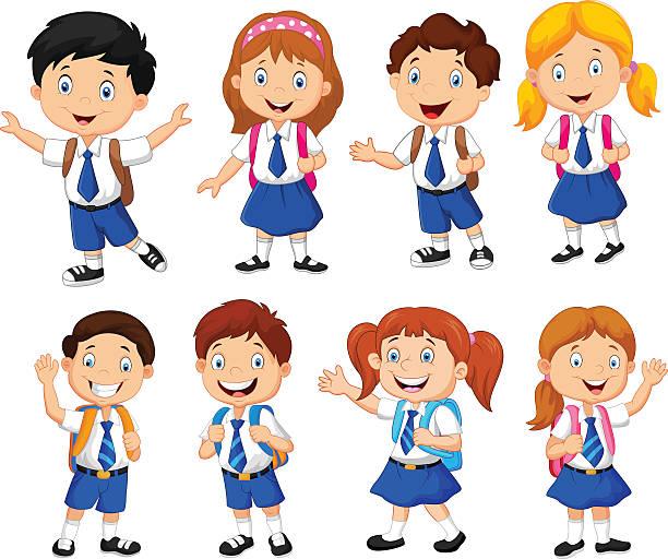 Kids In Uniform Clip Art, Vector Images & Illustrations.