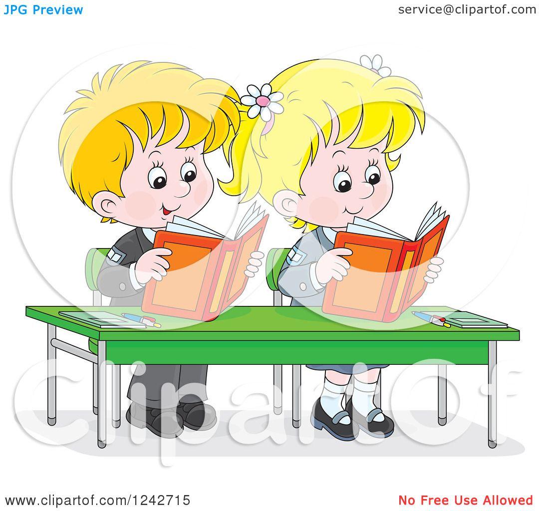 Clipart of Blond School Children Reading at Their Desk.