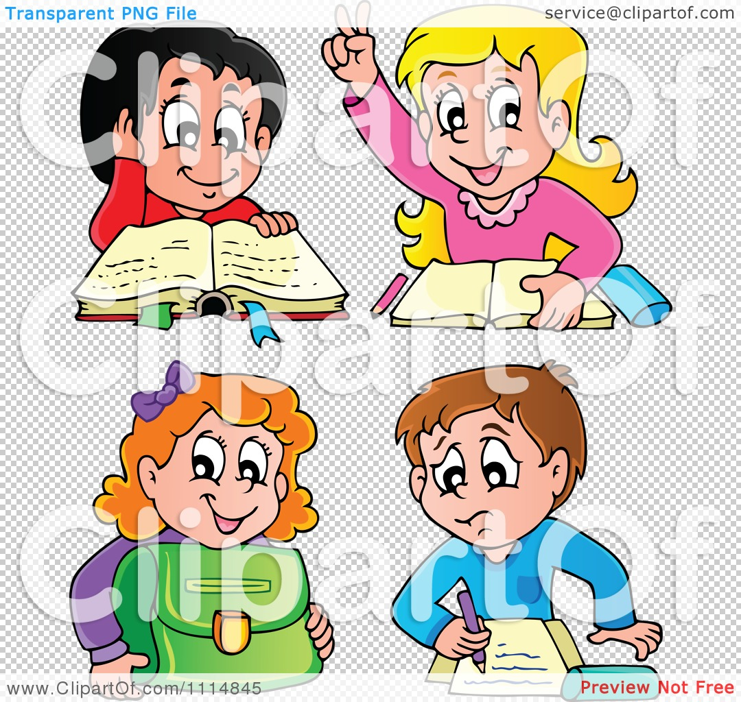 Clipart School Children Reading And Doing Homework.