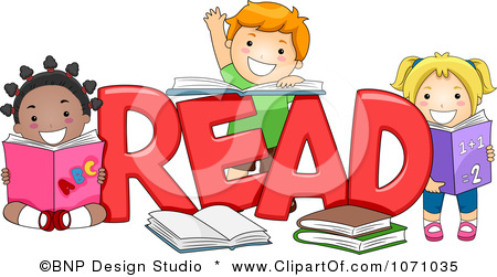 Clipart Preschool Kids With The Word READ.