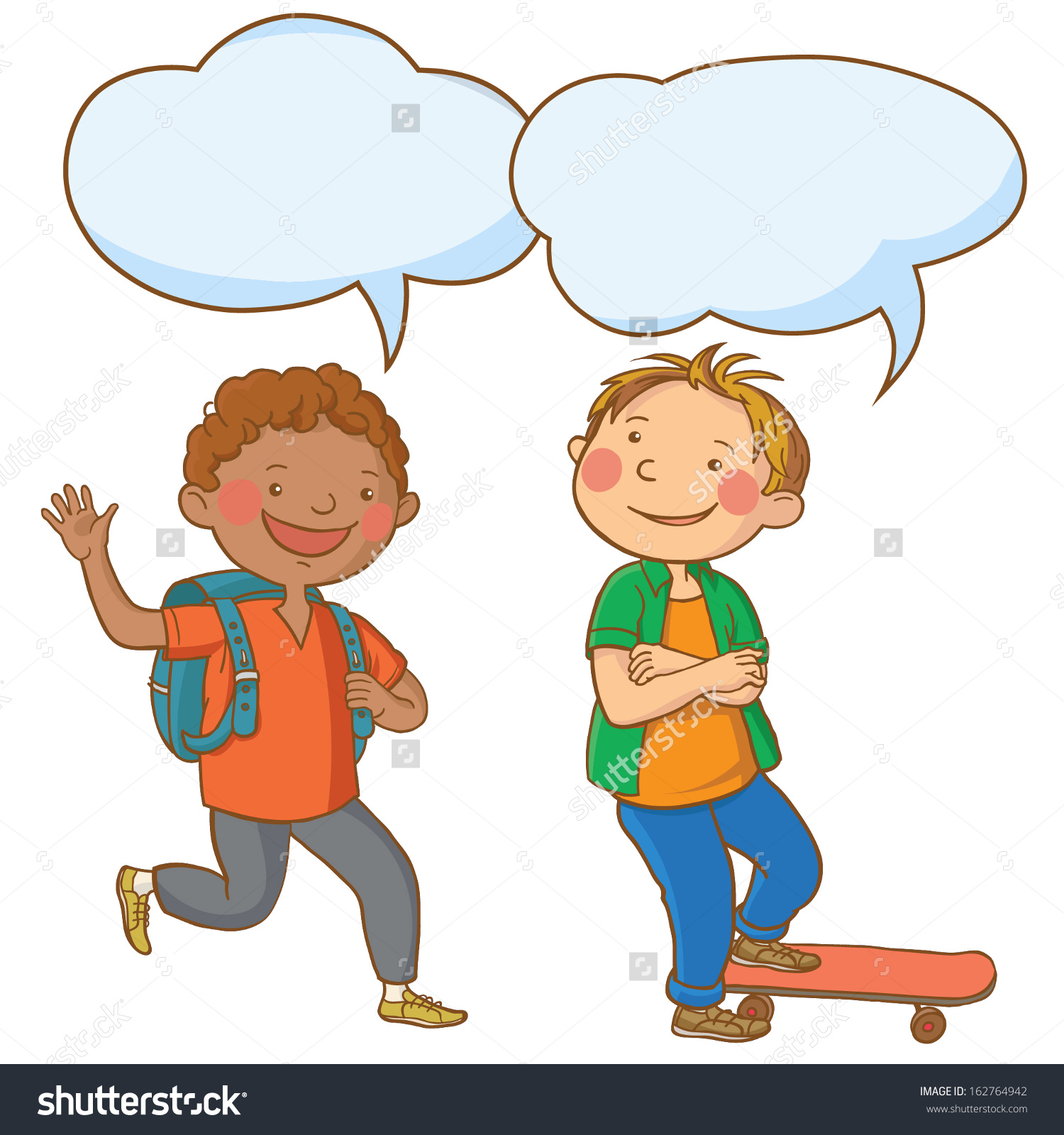 Clipart School Children Talking To Each Other At Tables.