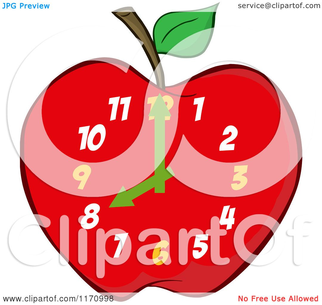 Cartoon of a Red Apple School Clock.