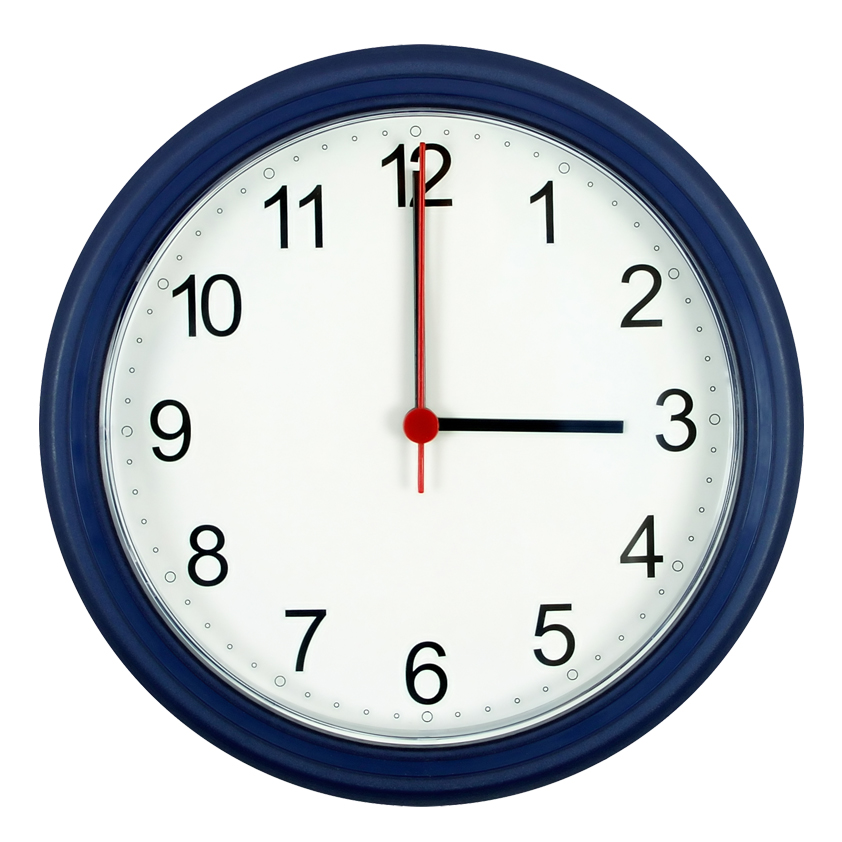 Analogue Clock Showing 9am.