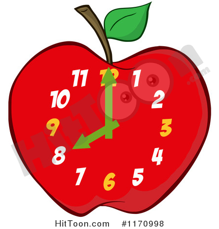 Clock Clipart #1170998: Red Apple School Clock by Hit Toon.