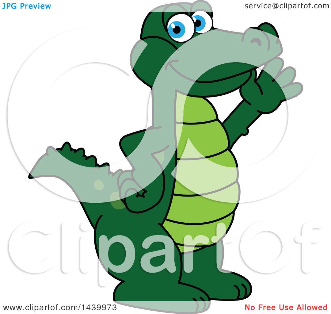 Clipart of a Gator School Mascot Character Waving.