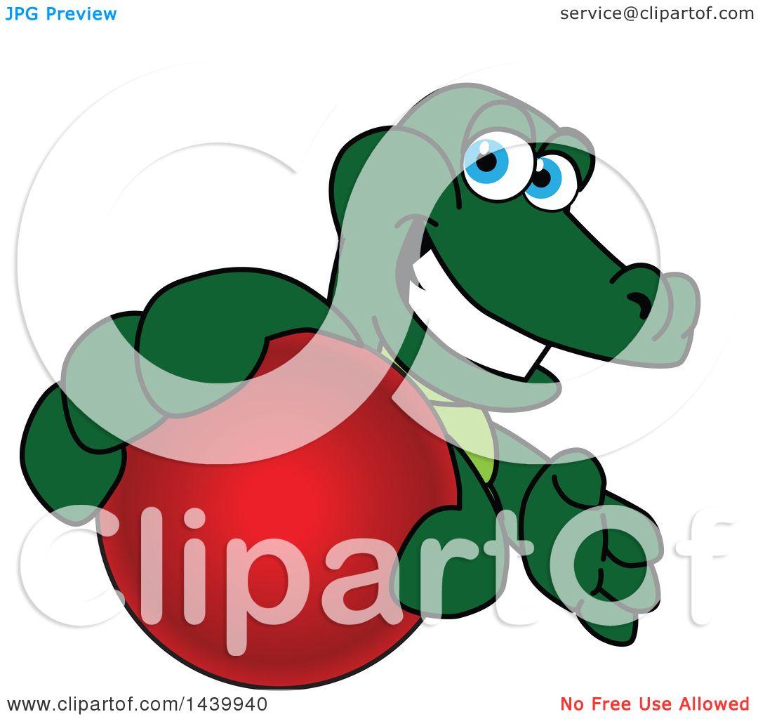 Clipart of a Gator School Mascot Character Grabbing a Red Ball.