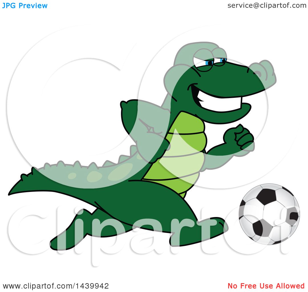 Clipart of a Gator School Mascot Character Playing Soccer.