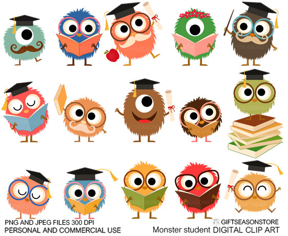School monsters Digital clip art for Personal and Commercial.