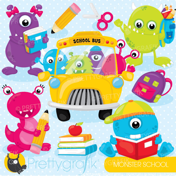 Monster school clipart: Cute Monsters in School? What could be.