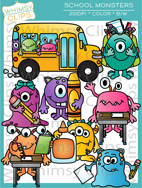 School Monsters Clip Art , Images & Illustrations.