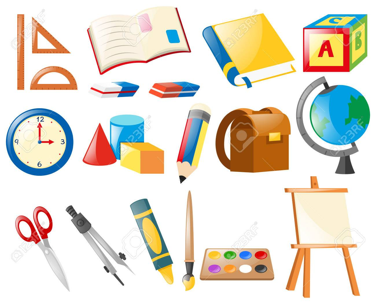 Set of school objects illustration.