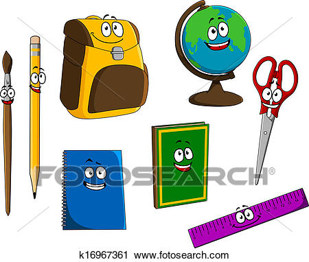 Cartoon school objects Clipart.