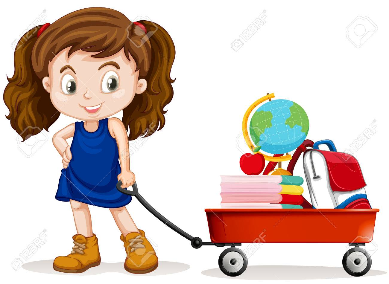 Little girl pulling wagon full of school objects illustration.