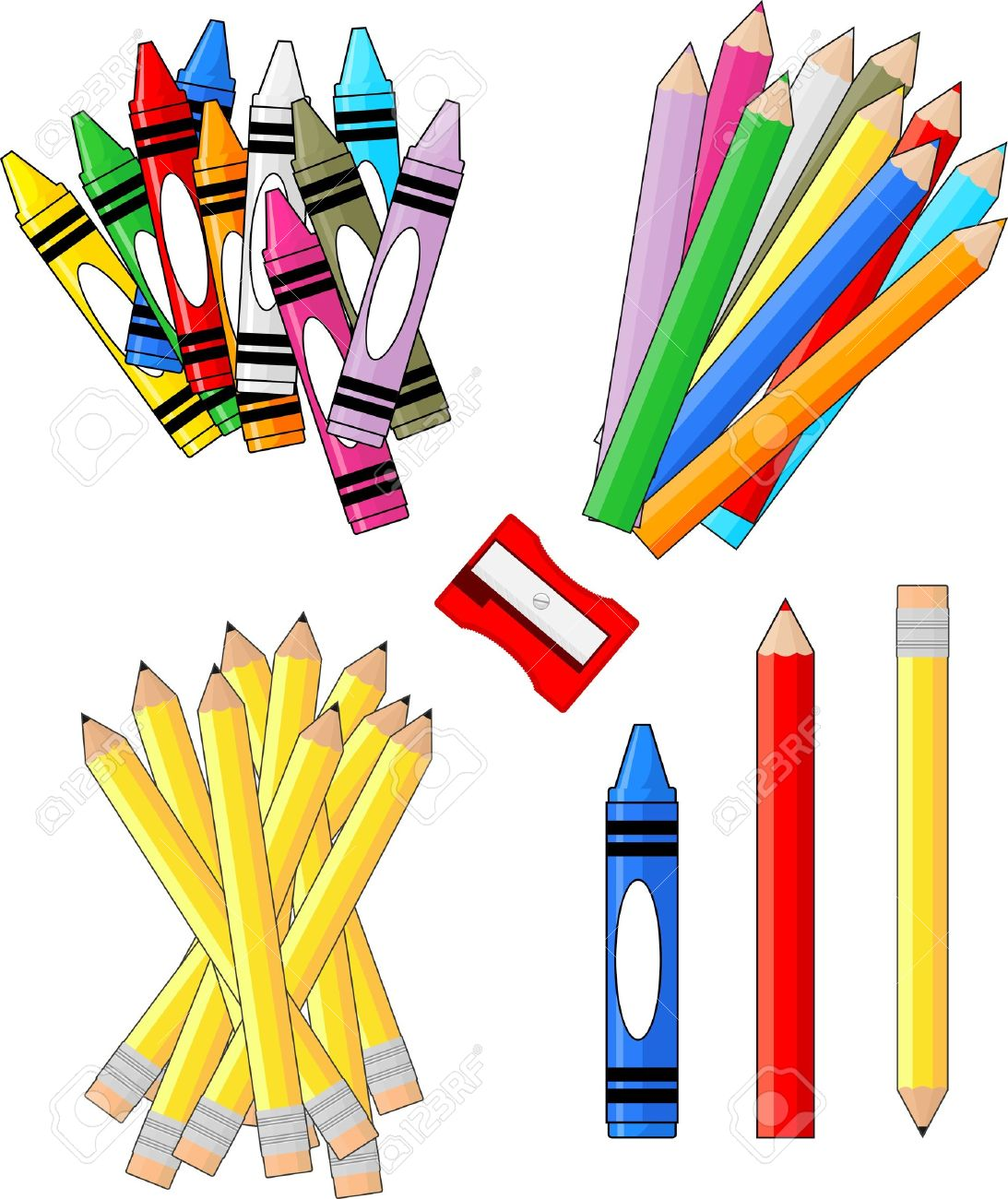 school supplies groups clip art isolated on white background,...